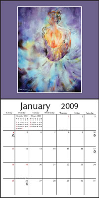 Ballet & Dance Calendar - January page of Calandar of Paintings by Woking Surrey UK Artist Sera Knight