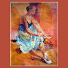 Ballet Dancer putting on her ballet shoes - June page of Ballet & Dance Calendar of the Paintings by Woking Surrey Artist Sera Knight