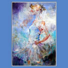 Ballet & Dance Caledar of Paintings of Sera Knight Woking Surrey Artist - 'I Am Ready' - Ballet dancer ready to dance in show