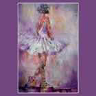 Stage Lights 2 - Ballerina about to perform her dance - July page of Calandar of Dance & Ballet Paintings by Woking Surrey Artist Sera Knight