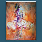 August Calendar page - Painting of Ballet Dancer by Woking Surrey Artist Sera Knight